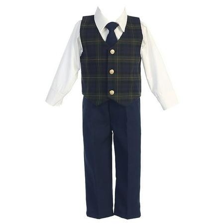 Green Plaid Christmas Special Occasion 3pc Suit Tie Set Boys 6M-7