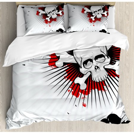 Halloween King Size Duvet Cover Set, Skull with Crossed Bones over Grunge Background Evil Scary Horror Graphic, Decorative 3 Piece Bedding Set with 2 Pillow Shams, Pearl Red Black, by Ambesonne