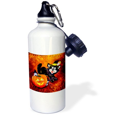 3dRose Funny Halloween Cat and Mouse, Sports Water Bottle, 21oz