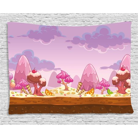 Girls Room Decor Tapestry, Cartoon Sweet Candy Land Cupcakes Ice Cream Chocolate Oranges Mountains, Wall Hanging for Bedroom Living Room Dorm Decor, 60W X 40L Inches, Multicolor, by - Candyland Room Theme