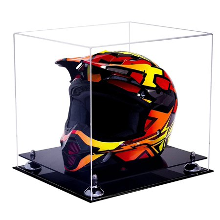 Deluxe Clear Acrylic Motorcycle Motocross or Nascar Racing Helmet Display Case with Silver Risers (A024-SR) - Master Chief Deluxe Helmet