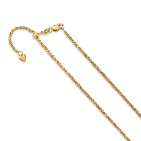 - 14k Yellow Gold Adjustable 1.6mm Semi Solid Spiga Chain Necklace 30 Inch Pendant Charm Wheat For Women