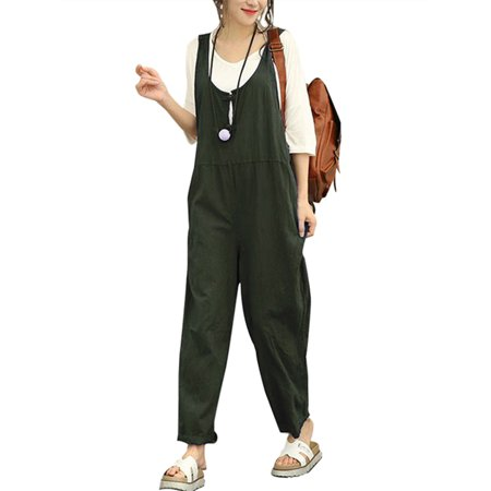 Women's Pants Fashion Solid Color Cotton Linen Jumpsuits](1970s Jumpsuit)
