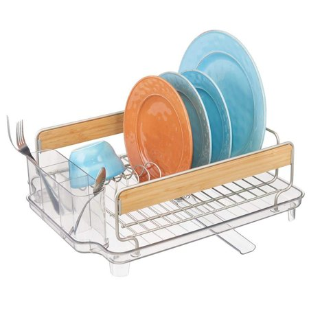 mDesign Large Kitchen Countertop, Sink Dish Drying Rack with Bamboo Wood Accents - Removable Cutlery Tray & Drainboard with Adjustable Swivel Spout - 3 Pieces, BPA Free Cutlery Caddy, Satin/Clear -