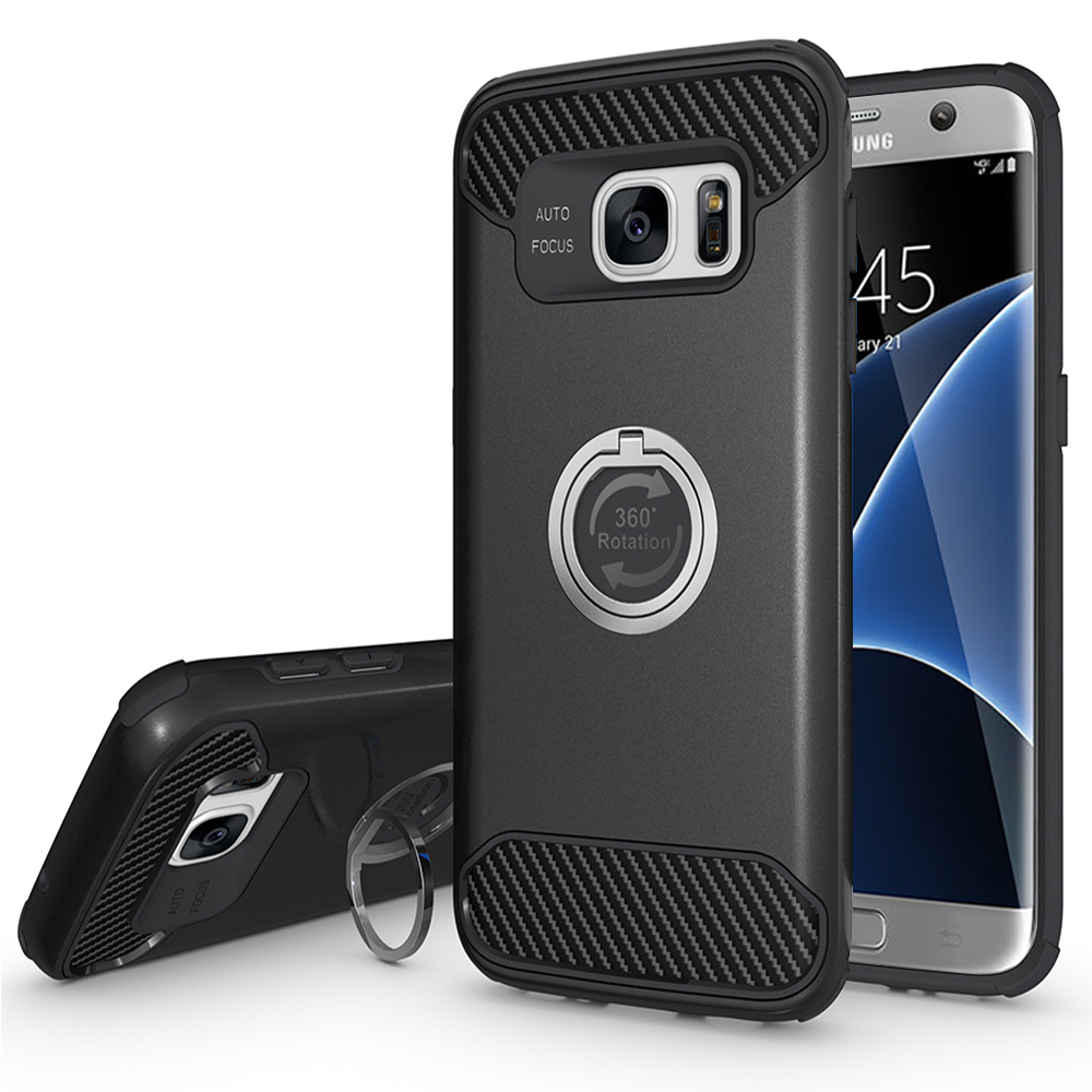 Samsung Galaxy S7 Edge Shockproof Hybrid 360° Ring Stand Case Cover Black