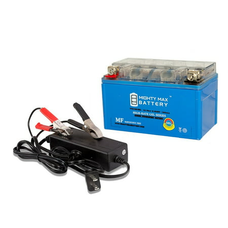 YTZ10S GEL Battery Replaces Duralast GTZ10S-BS + 12V 2Amp Charger