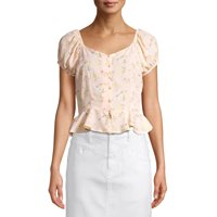 Derek Heart Juniors' Floral Button Front Peplum Top