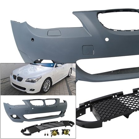 Front Bumper w/ Yellow Fog Lights For E60 BMW 04-07 5 Series 4D MSport  Style PDC