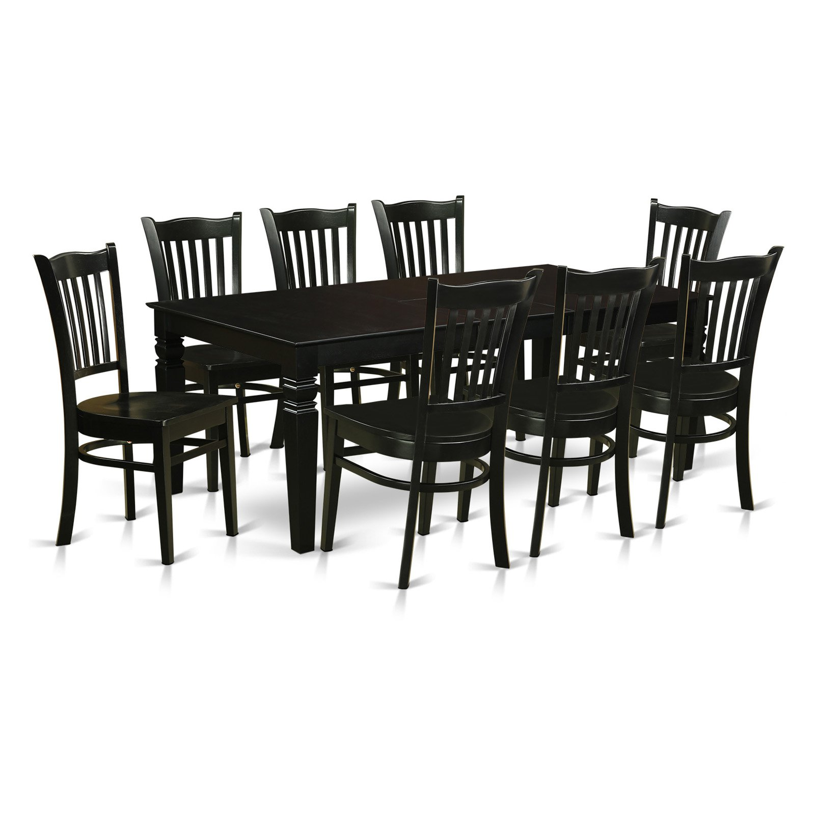 East West Furniture Logan 9 Piece Comb Back Dining Table Set