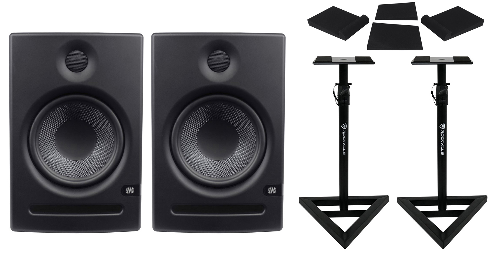 "2 Presonus 8"" Powered Active Studio Monitors+Pair Stands+Foam Isolation Pads by PreSonus"