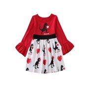 Valentine's Day Kids Baby Girl Dinosaur Love Print Tutu Dress Party Clothes