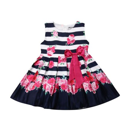 Toddler Kids Clothing Baby Girls Cute Bowknot Sleeveless Floral Party Wedding Gown Mini Dress Outfits Clothes - Cute Back To School Clothes