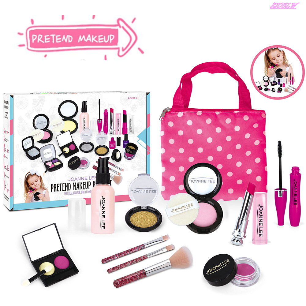 Pretend Makeup Kit Toys For 2 3 4 5 Year Old Girls First Make Up Set For Little Princess Play Dress Up Kids Cosmetic Best Birthday Gift For Toddler With Polka Dot Bag