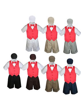 5pc Boy Toddler Formal Red Vest Bow Tie Black Khaki Brown White Hat Shorts S-4T
