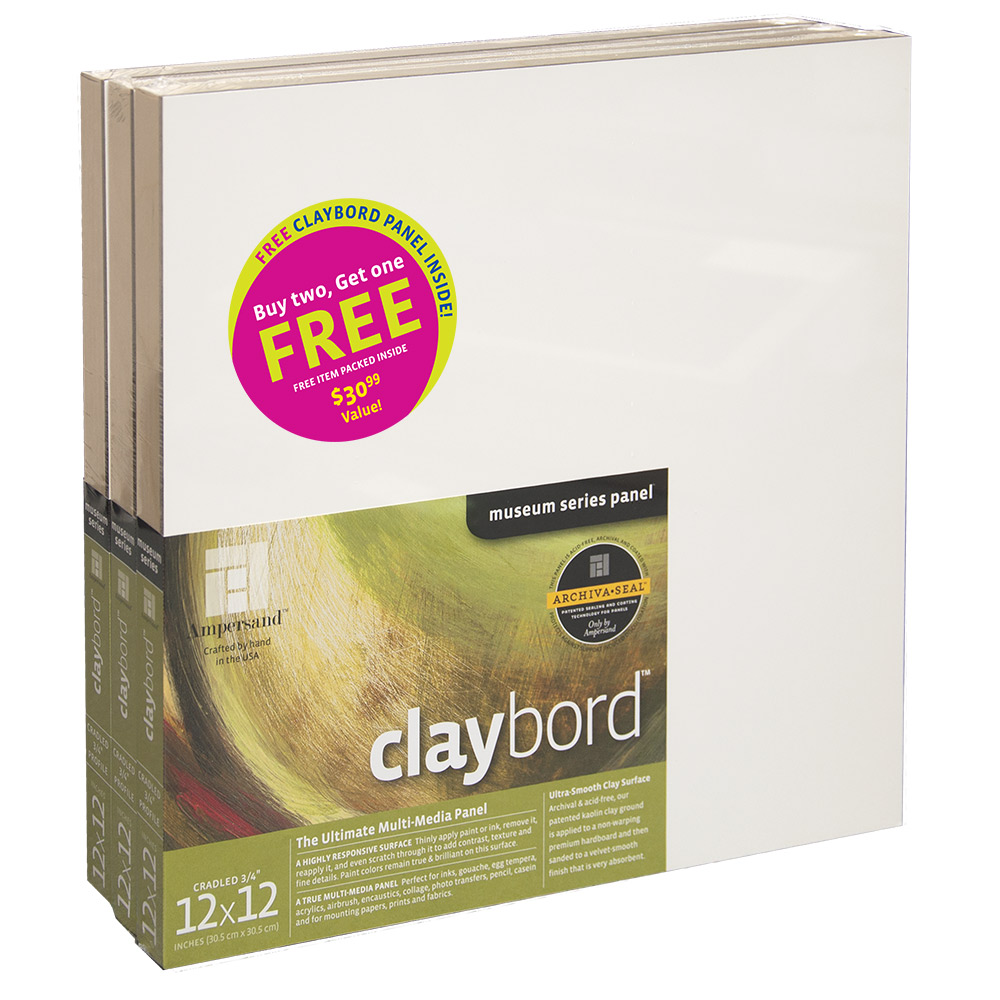 """Click here to buy 3PK CLAYBORD 3 4"""" CRADLE 12X12 by Ampersand."""