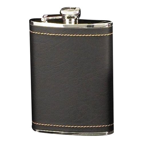 Stainless Steel/Black Leather Flask