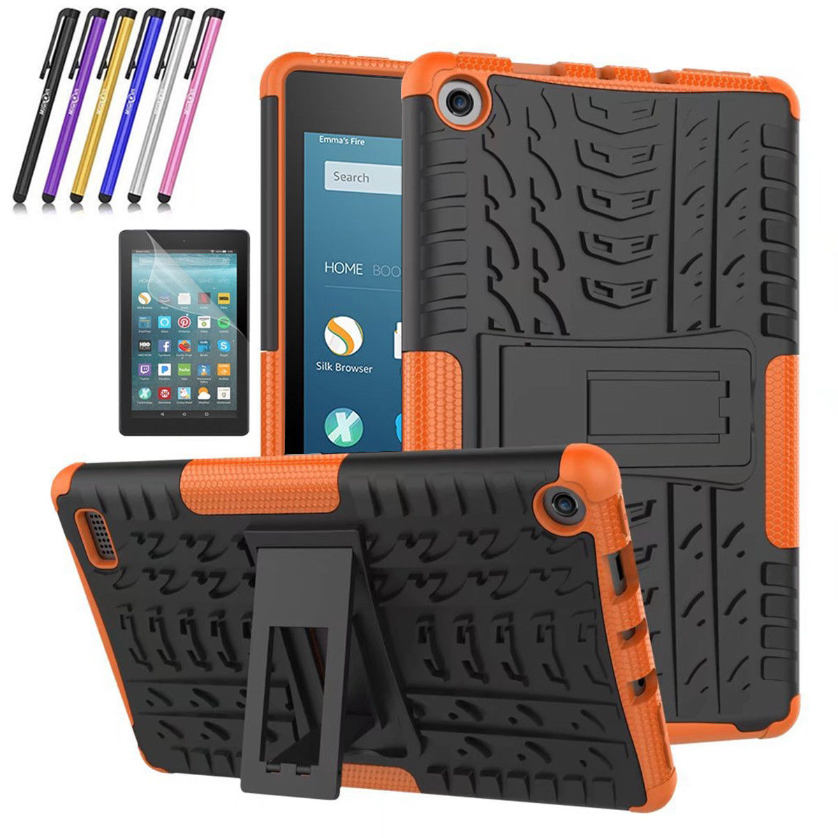 Fire 7 2017 Case, Mignova Hybrid Protection Cover [Anti Slip] [Built-In Kickstand] Skin Case For All-New Fire 7 Tablet (7th Generation 2017 Release) + Screen Protector Film and Stylus Pen (Black)