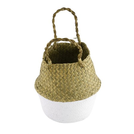 Foldable Seagrass Woven Storage Pot Handmade Flower Hanging Basket With Handle - image 7 of 8