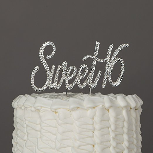 Sweet 16 Cake Topper Crystal Rhinestone 16th Birthday Decoration Party Supplies Silver