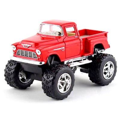 Kinsmart Off Road Big Foot Monster 1955 Chevy Stepside PickUp Truck 1:32 RED!4X4