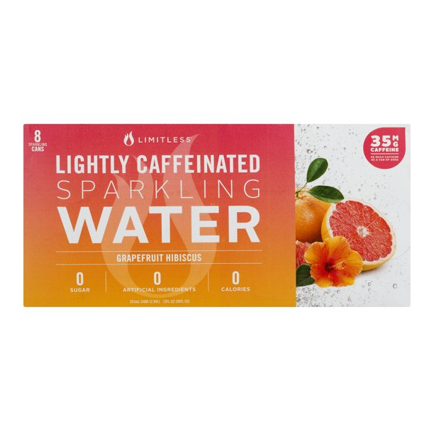 Limitless Lightly Caffeinated Sparkling Water Grapefruit Hibiscus, 12.0 FL OZ