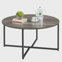 SmileMart Round Coffee Table with Metal Legs