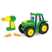 John Deere Build-A-Johnny Toy Tractor with Battery-Powered Pretend Drill, 16 Pieces