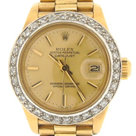 Pre-Owned Ladies Rolex 18K Yellow Gold Datejust President Champagne 6917 (SKU 7136473MT)