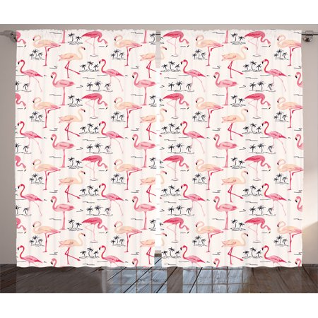 Flamingo Decor Curtains 2 Panels Set, Elegant Flamingos In Vintage Style Illustration Love Romantic Animals Art Print, Living Room Bedroom Accessories, By Ambesonne