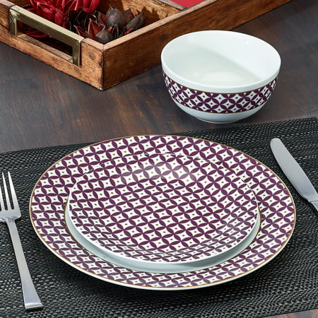 - India Collection Purple Print 12-Piece Porcelain Dinnerware Set, Walmart Exclusive