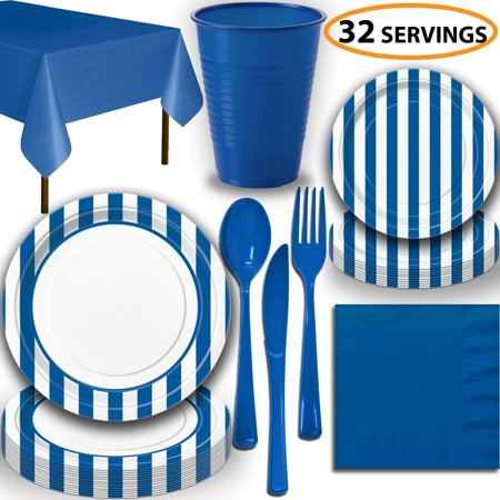 Disposable Tableware, 32 Sets - Royal Blue Stripes - Dinner Plates, Dessert Plates, Cups, Lunch Napkins, Cutlery, and Tablecloths:  Party Supplies Set ()