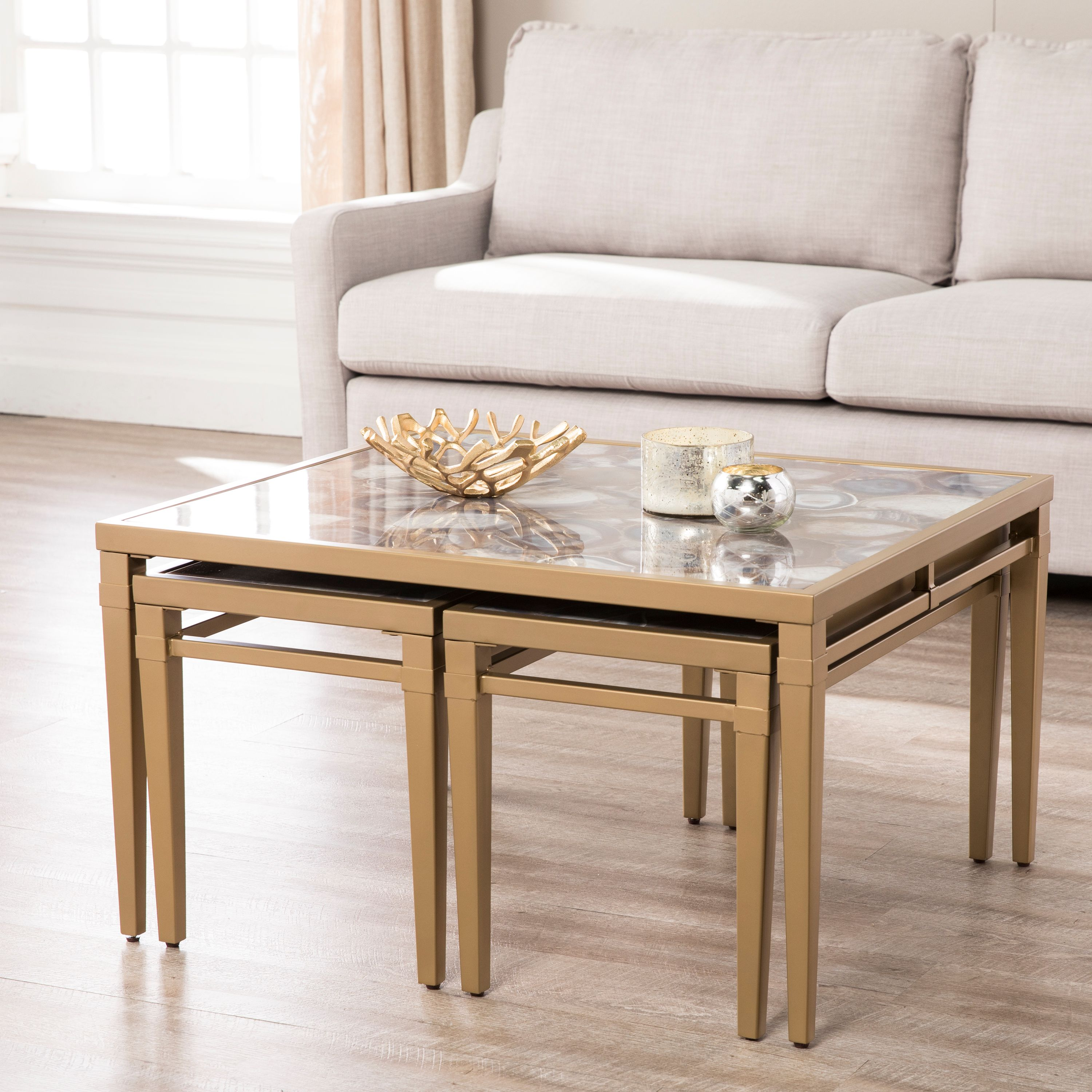 Eclectic Coffee Tables: Illsa Faux Stone Eclectic Nesting Coffee Tables, Gold