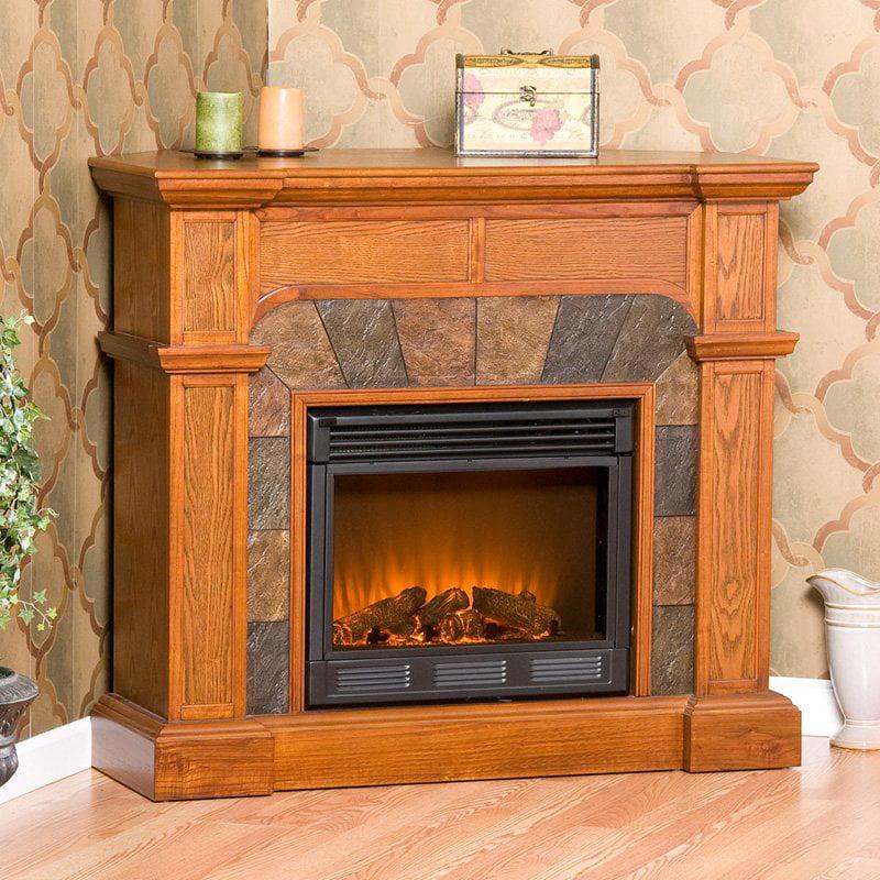 Southern Enterprises Cartwright Mission Oak Convertible Slate Electric Fireplace by Southern Enterprises