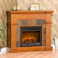 Southern Enterprises Cartwright Mission Oak Convertible Slate Electric Fireplace