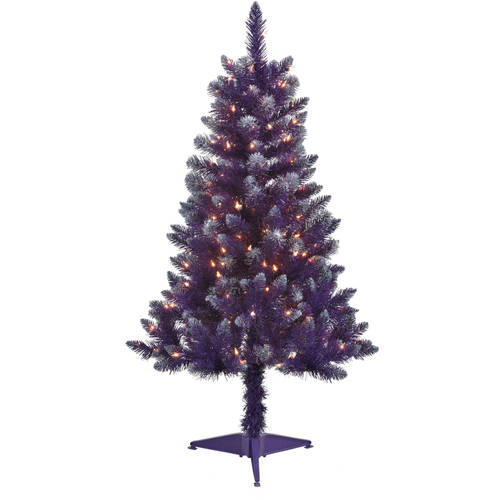4' Pre-Lit Blue Tinsel Artificial Christmas Tree, Clear Lights ...
