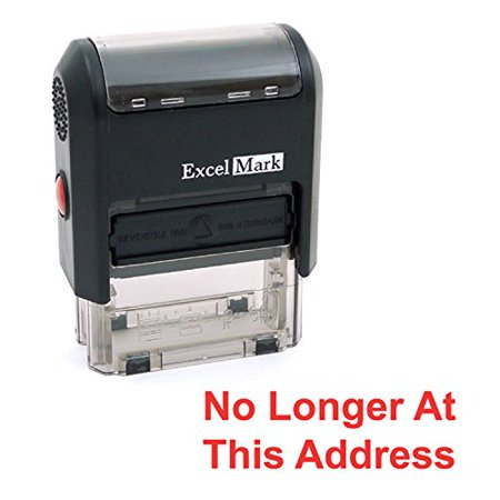 NO LONGER AT THIS ADDRESS Self Inking Rubber Stamp - Red Ink (ExcelMark