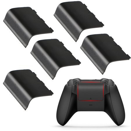 - 5-pack Replacement Battery Back Door Shell Cover for Xbox One Wireless Controller (Black)