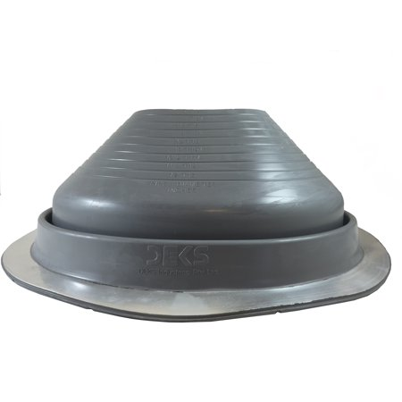 Metal Roofing Systems - #8 (DF108G) GRAY EPDM DEKTITE ROUND BASE METAL ROOFING PIPE FLASHING BOOT: (Fits OD pipe sizes 7