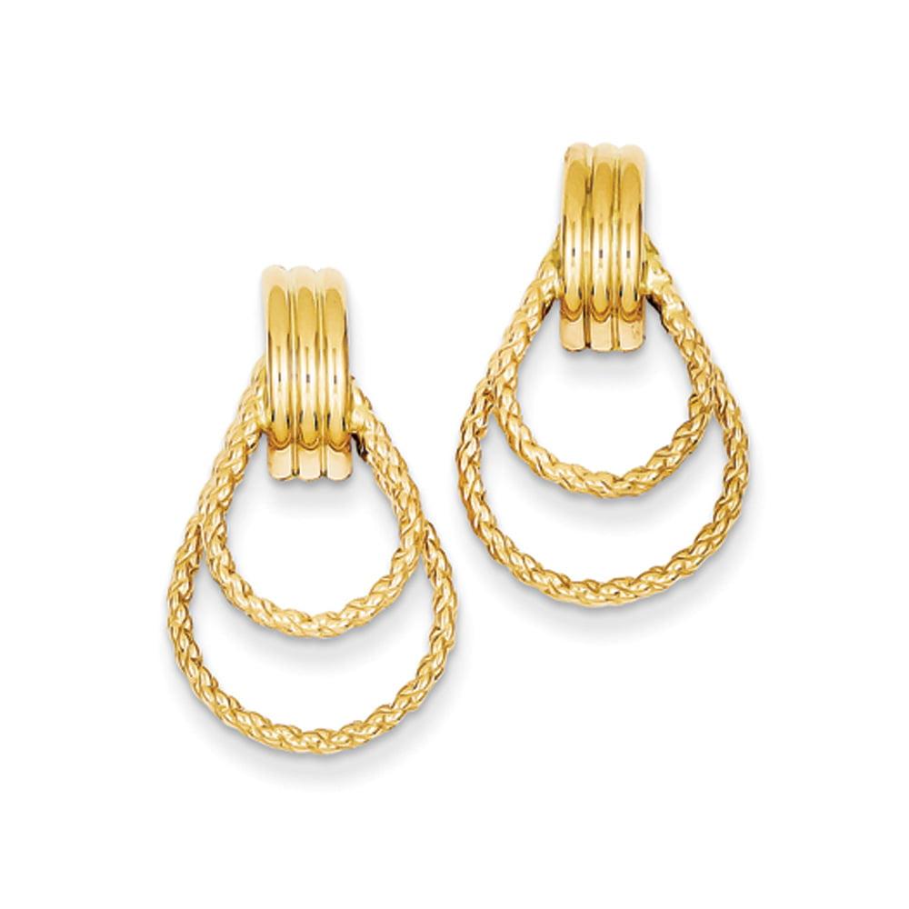 twisted teardrop post earrings in 14 karat yellow