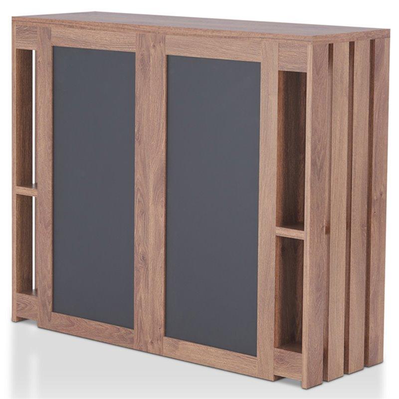 Furniture Of America Edina Bar Cabinet In Distressed Walnut