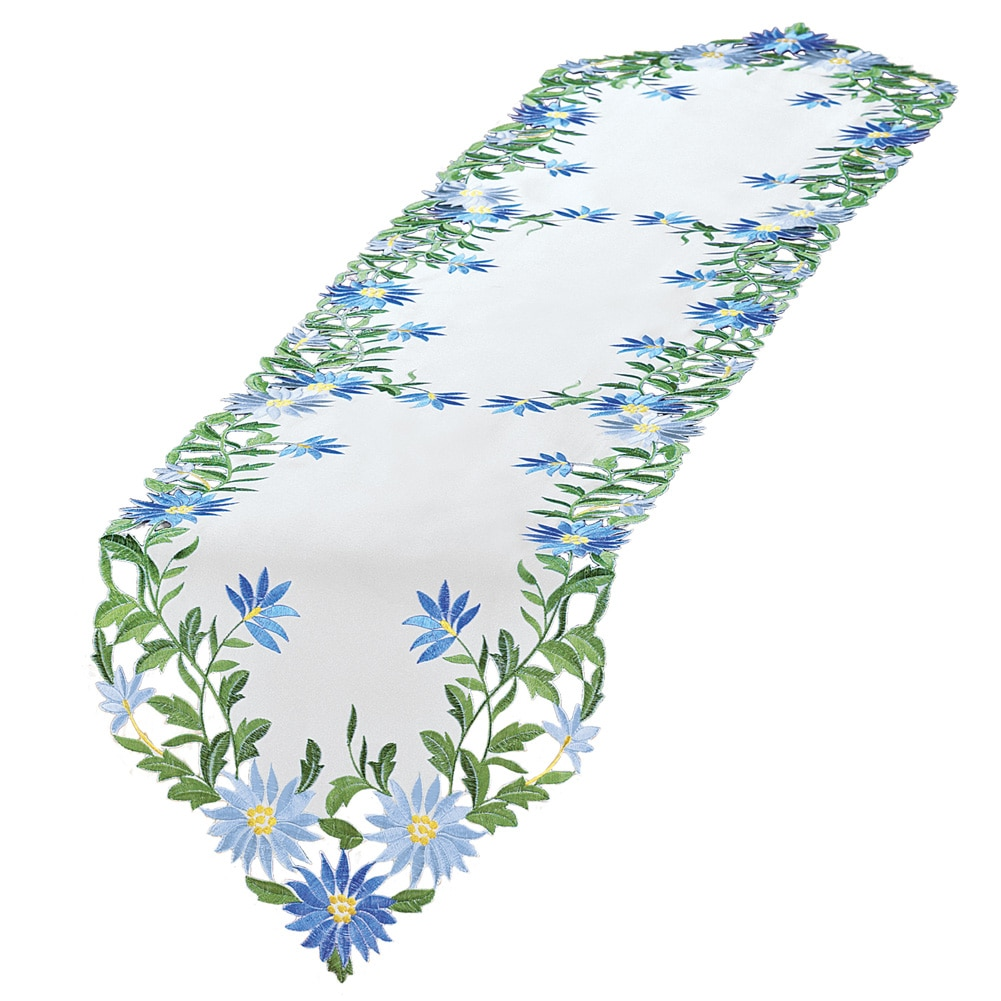 Embroidered Blue Daisies Table Linens, Runner, White by Collections Etc