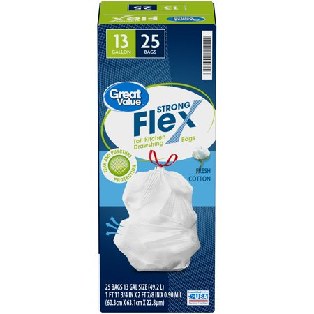Great Value™ Strong Flex 13 Gallon Fresh Cotton Tall Drawstring Kitchen Bags 25 ct Box 13 Gallon Case Pack