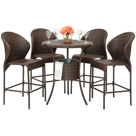 Best Choice Products 5-Piece Outdoor Patio Furniture Wicker Bistro Bar Table Set w/ Ice Bucket - Brown ()