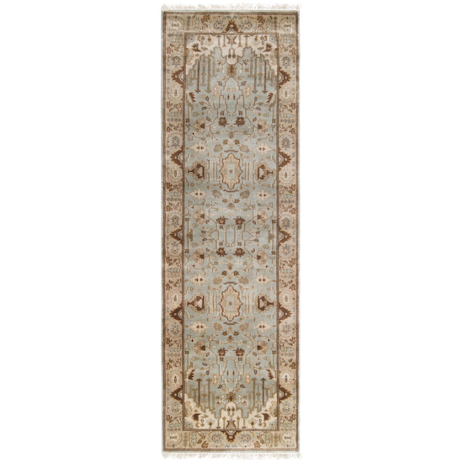 2.5' x 8' Beraber Taupe Beige, Fawn and Ecru Wool Area Runner Throw Rug