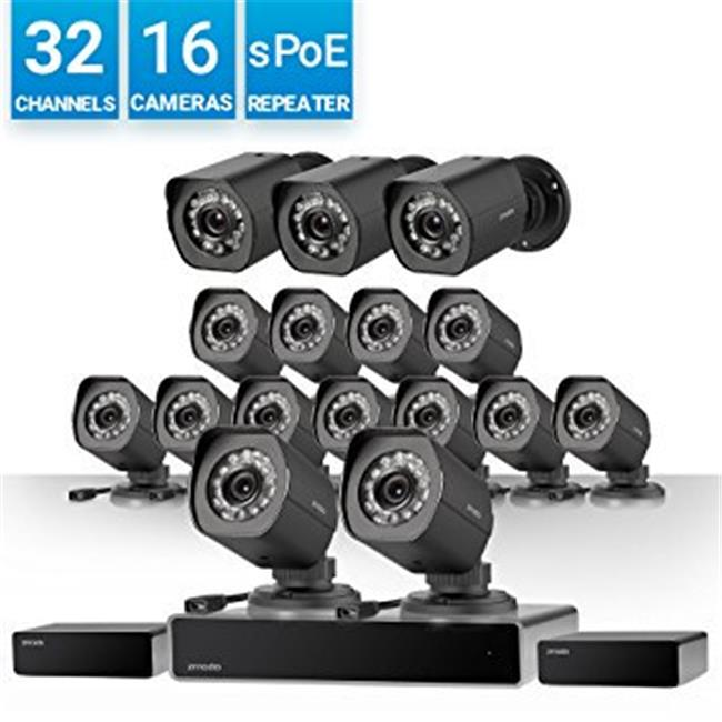 Zmodo BS-1016-B 32 Channel Network NVR System 16 IP HD Surveillance Camera System