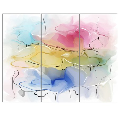(Design Art Abstract Floral Illustration Design' 3 Piece Painting Print on Metal Set)