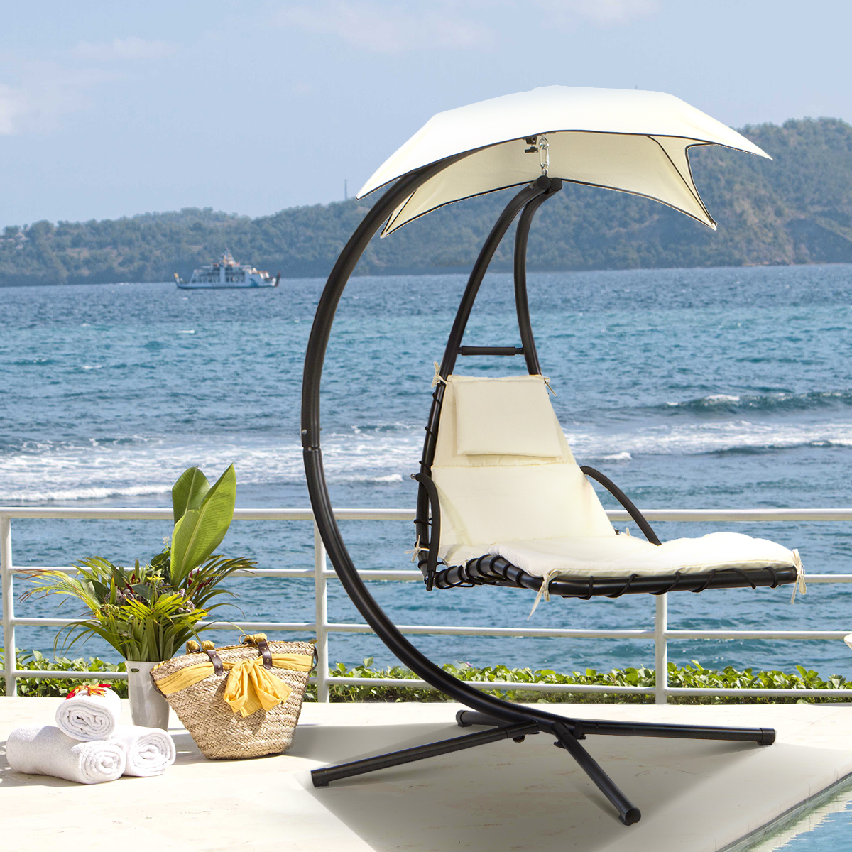 Barton Hanging Chaise Lounger Patio Chair Outdoor Floating ...
