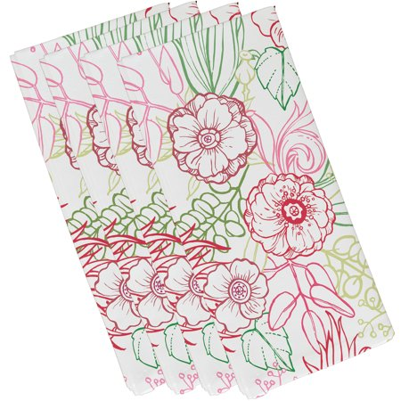 Simply Daisy, 19 x 19 Inch, zentangle 4 Color, Floral Print Napkin (Set of 4), (Simply Red Best Of)