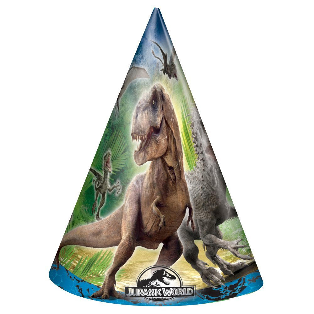 Jurassic World Party Hats, 8ct, Package of 8 Jurassic World Party Hats By Unique