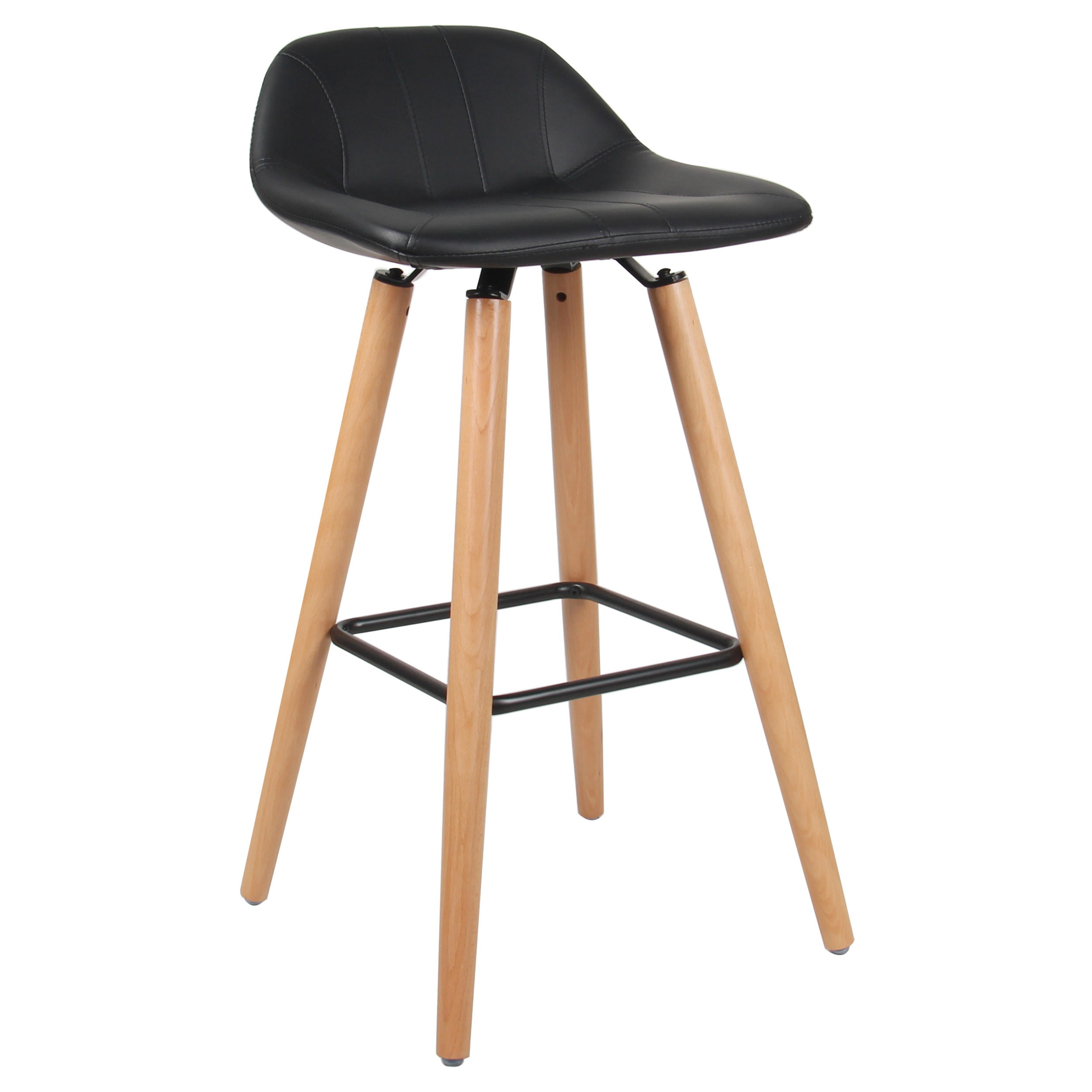 Moustache Dining Room Chair Bar Cafe Stool with Padded Seat, Footrest &  Beech Wood Legs